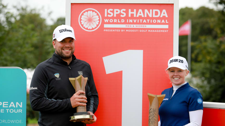 After a sensational afternoon the home crowds got their local winner as Stephanie Meadow held off to secure the ISPS Handa World Invitational women's title at Galgorm Spa & Golf Resort with England's Jack Senior becoming the men's champion.