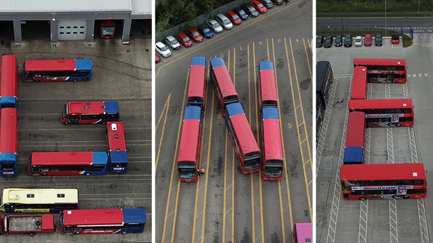 Team members also positioned buses to spell out 'GNE'
