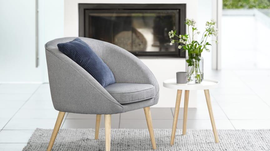 OREVED armchair in dusky blue, £100. Width: 73 cm, Height: 76 cm, Depth: 65 cm