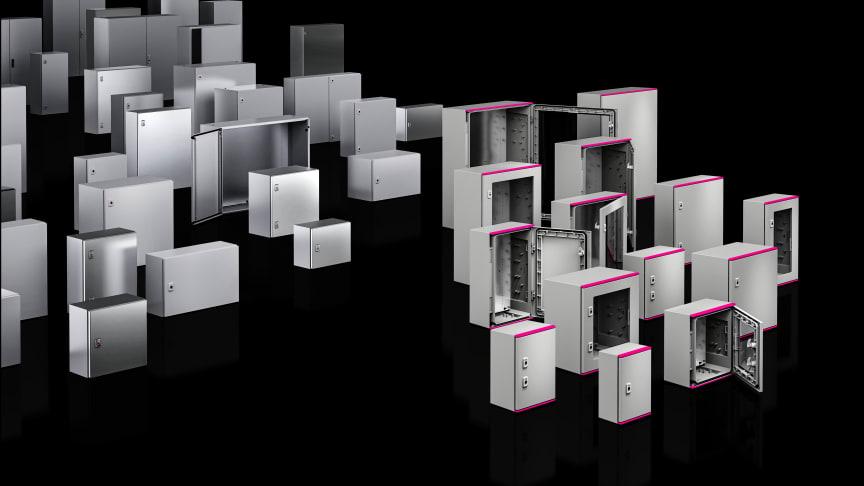 Med sitt nyutvecklade plastskåp (till höger) har Rittal nu fulländat sitt AX-sortiment av kompakta skåp.