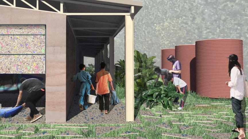 """Et udkast til hvordan """"Recycle Build Brazil""""-projektet vil se ud udefra."""