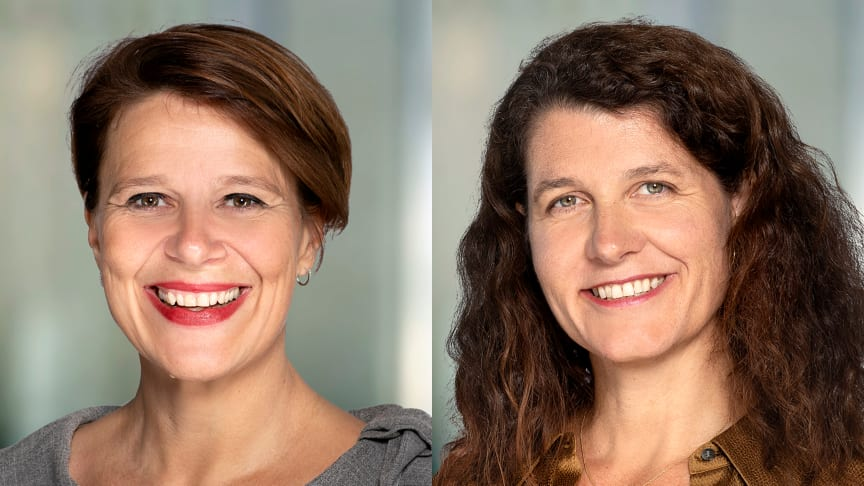 Nå hever Tone Tellevik Dahl fra Norsk Eiendom og Katharina Th. Bramslev fra Grønn Byggallianse de grønne ambisjonene for bransjen. (Foto: Sturlasson)