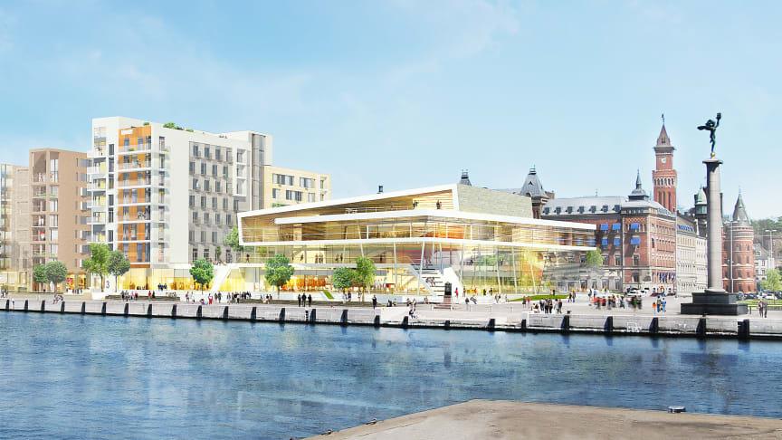 Helsingborgs nya hotell- och kongresscenter SeaU. Illustration: Midroc.