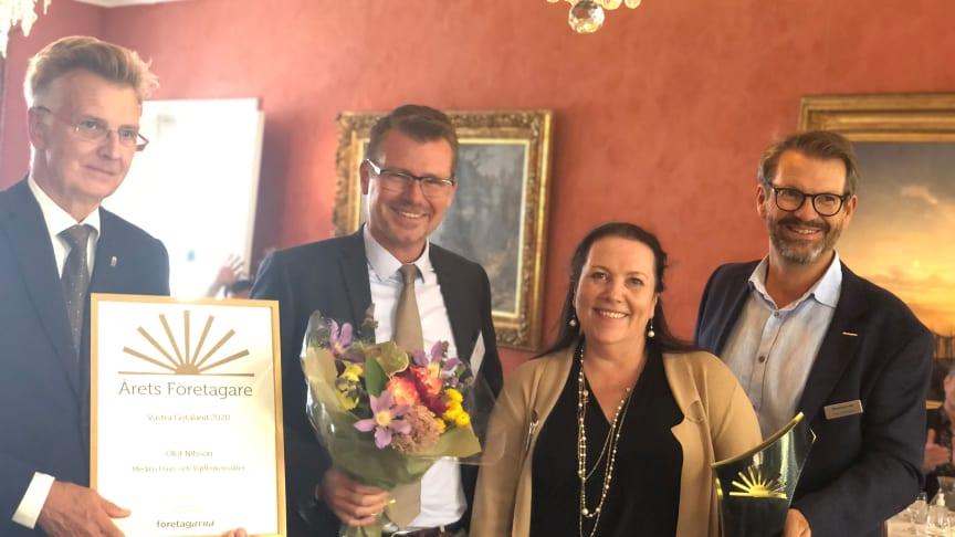 *från vänster Anders Danielsson landshövding, Olof Nilsson årets företagare i västra götaland 2020, Monica Crusner & Mikael Erlandson företagarna