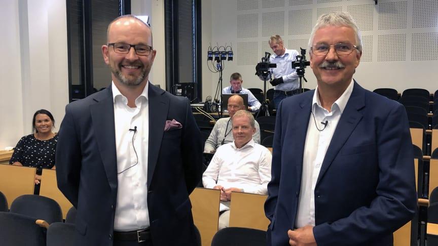 RESULTATPRESENTASJON: Finansdirektør Geir-Egil Bolstad og konsernsjef Richard Heiberg la fram resultatet for andre kvartal den 5. august 2020.
