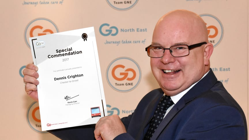 Driver Dennis Crighton received a special commendation for Excellence in Customer Service at the Team GNE Awards 2017