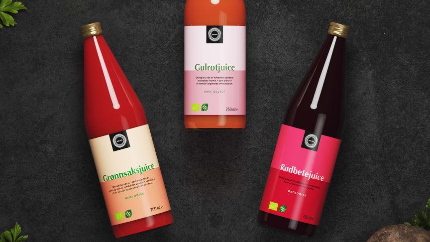 Helios relanserer grønnsaksjuice, gulrotjuice og rødbetejuice.