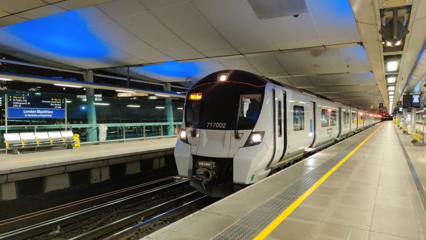 Moorgate unit 717002 off route at London Blackfriars, testing ETCS as part of the East Coast Digital Programme