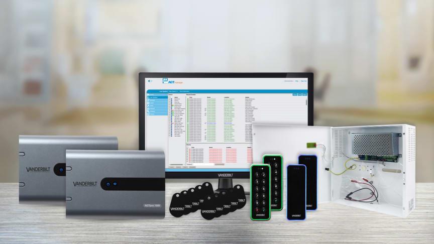 ACTpro Ready2Go startkit innehållande 2st ACTpro-1500 dörrcentraler, 4st OSDP-kortläsare, 1st 24VDC PSU, 10st Mifare-taggar och ACT Enterprise mjukvara med regelmotor.