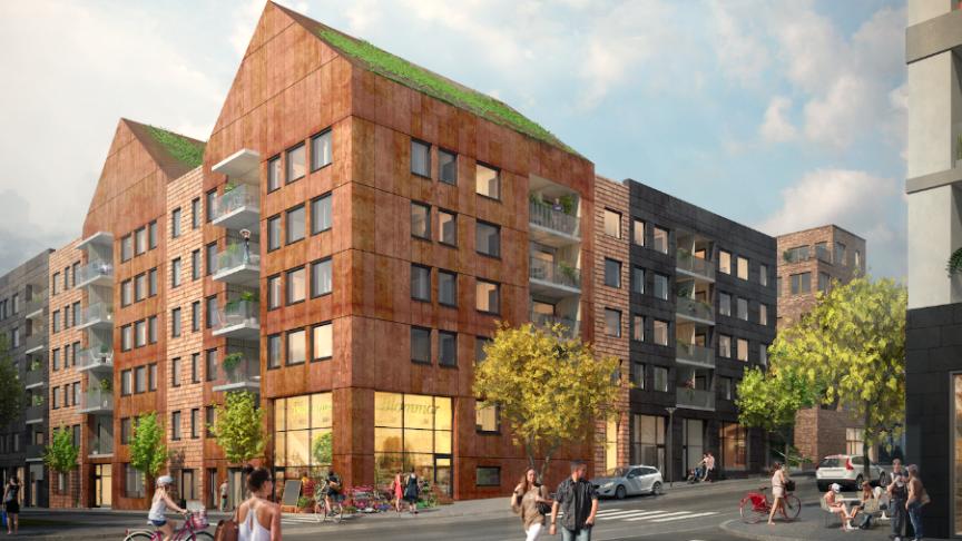 I Norra Tyresö centrum uppför Riksbyggen 72 bostadsrätter i Brf Steget. Entreprenör är JM Entreprenad.
