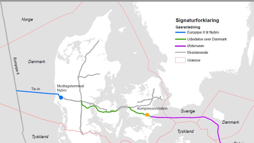 Oversigtskort over hele ruten for Baltic Pipe gasrørledningen. Kilde: Energinet, Gaz System (v. Rambøll) Baltic Pipe - Miljøkonsekvensrapport Februar 2019.