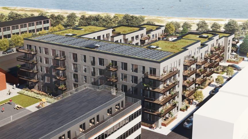 AG Gruppen opfører 76 nye, moderne og meget forskellige bylejligheder samt 2 erhvervslokaler i stueetagen lige overfor Amager Strandpark