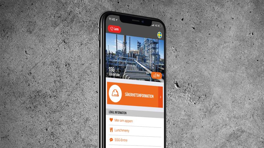 SSG On site gör det möjligt för industrianläggningar att delge säkerhetsinformation, nyheter, kartor med mera direkt i en besökares mobil.