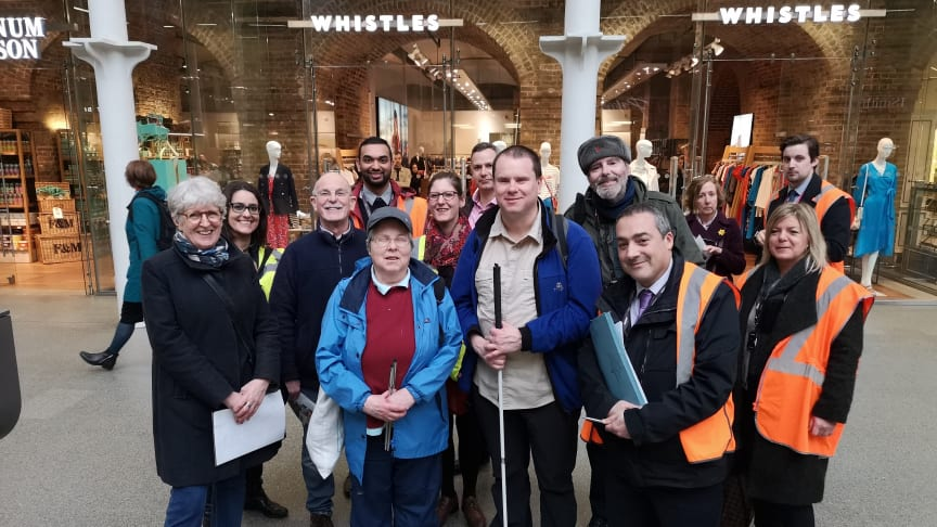 Govia Thameslink Railway's Antony Merlyn (standing at the front)  has staged tours of St Pancras International station for people with accessibility needs ahead of a change in the timetable this month