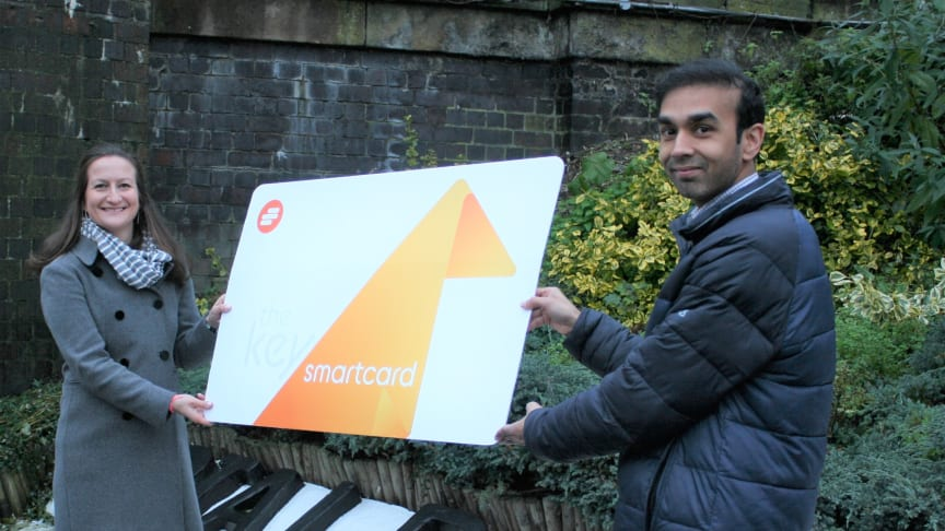 St Albans commuter Sarah Tyrell pictured with Station Manager Harsitt Chandak