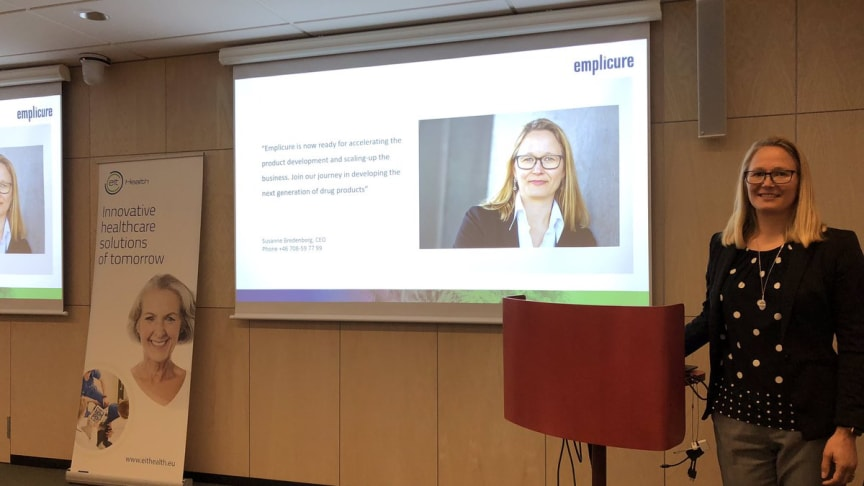 Susanne Bredenberg, CEO of Emplicure, during the pitching competition in Stockholm.