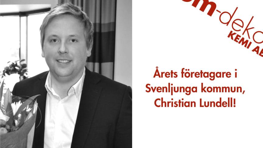 Christian Lundell, årets företagare i Svenljunga kommun!