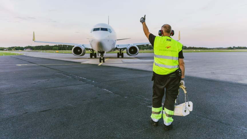 Tummen upp för Norrköping Airport.
