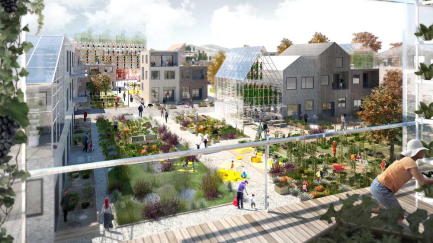 Lätt att leva hållbart i Sätra. Exempelvy från odlingsgrannskapet. Skissbild: Towatt Architect & Planners, Mandaworks AB