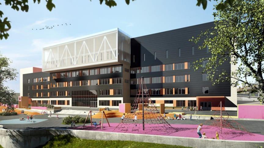 Brynseng skole skal står ferdig i 2017. Fasaden er dekket med solceller. Illustrasjon: HRTBH Arkitekter