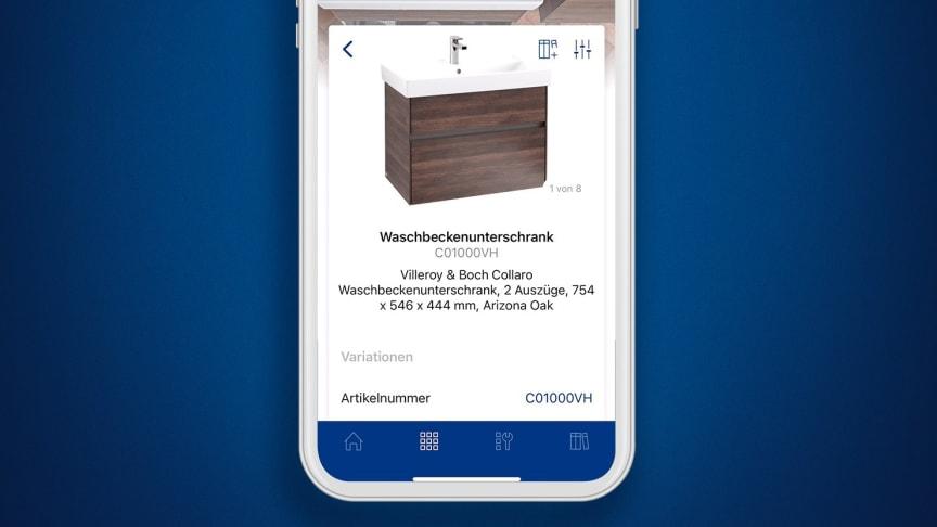 Die neue Villeroy & Boch App -  Produktinformationen und Service für den Profi an einem digitalen Ort