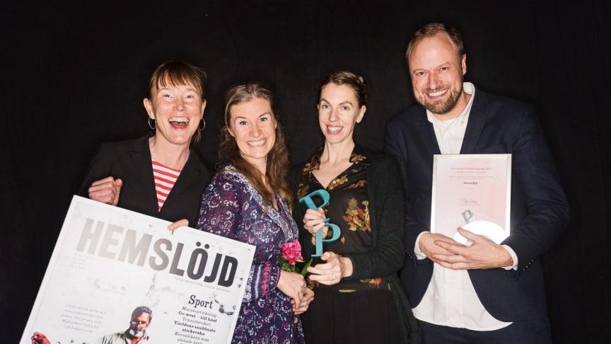 Hemslöjds chefredaktör Malin Vessby, redaktörerna Liv Blomberg och Maria Diedrichs och AD Carl Anders Skoglund.