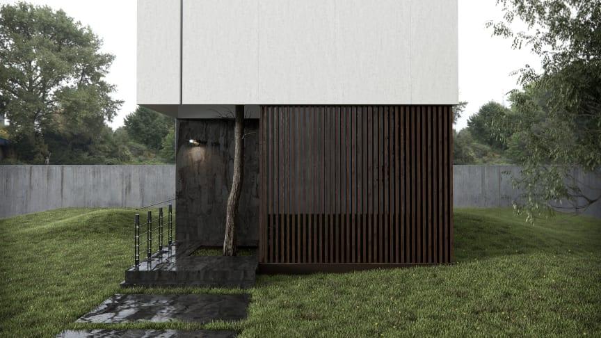 Dekton Radium (oscuro) Dekton Blanc Concrete (Claro)_facade