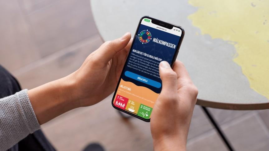 Målkompassen är ett interaktivt spel som låter användaren testa sina kunskaper om läget i världen och samtidigt lära sig mer om hur det går för världens länder att uppnå Globala målen.
