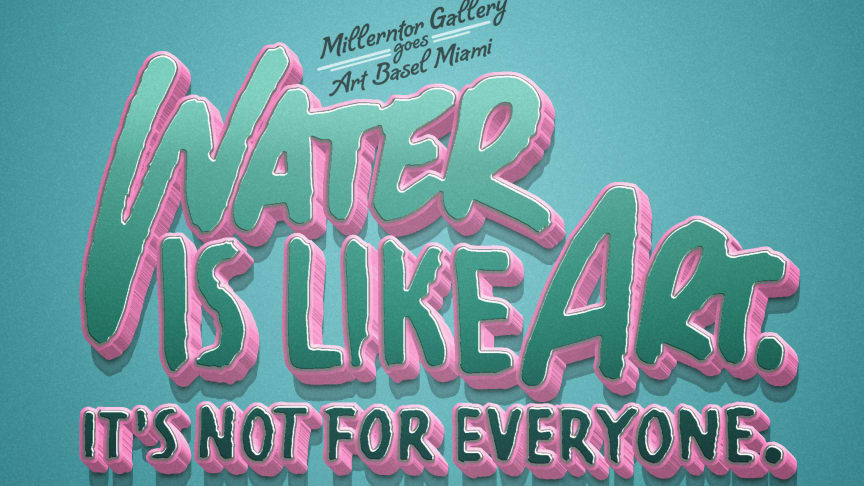Mit der Ansage ''WATER IS LIKE ART, IT'S NOT FOR EVERYONE'' setzt die Millerntor Gallery mit internationalen Künstlern aus Hamburg den Wert von Kunst mit dem Wert von Wasser in Relation.  DESIGN by Ramba Zamba