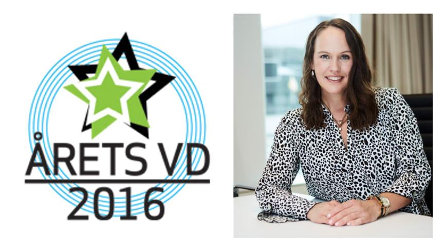 Liza Jonson, vd SPP Fonder vann utmärkelsen Årets vd i kategorin mindre företag.
