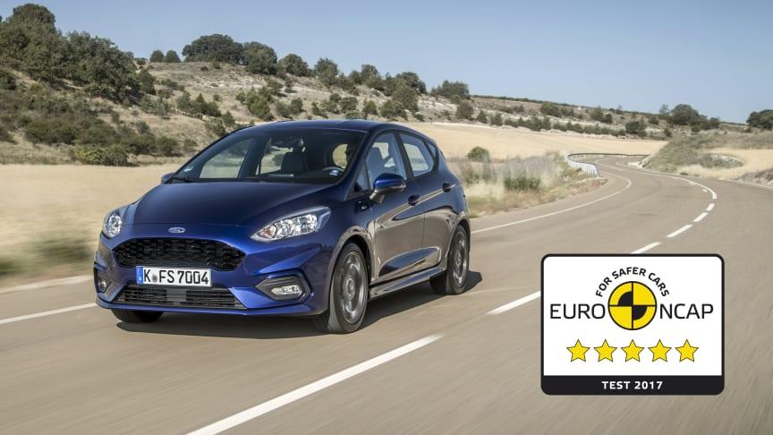 Scorer høyt: Nye Ford FIesta oppnådde toppscore i Euro NCAPs kollisjonstest