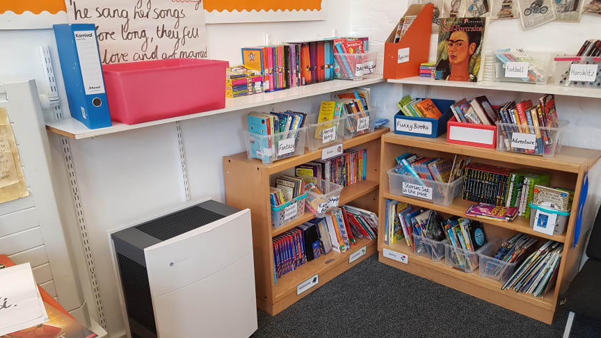 Blueair Classic 605 installed in a classroom at Christopher Hatton Primary School in London.