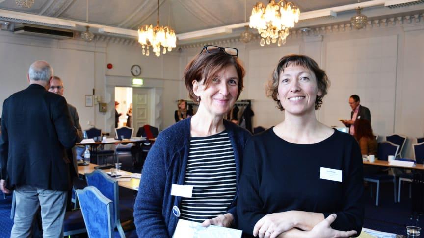 Ulla Hahn fra FutureBuilt og Bodil Motzke fra Undervisningsbygg snakket om miljøambisjoner og bærekraftige nyvinninger. Foto: Benedicte Nylund, Undervisningsbygg