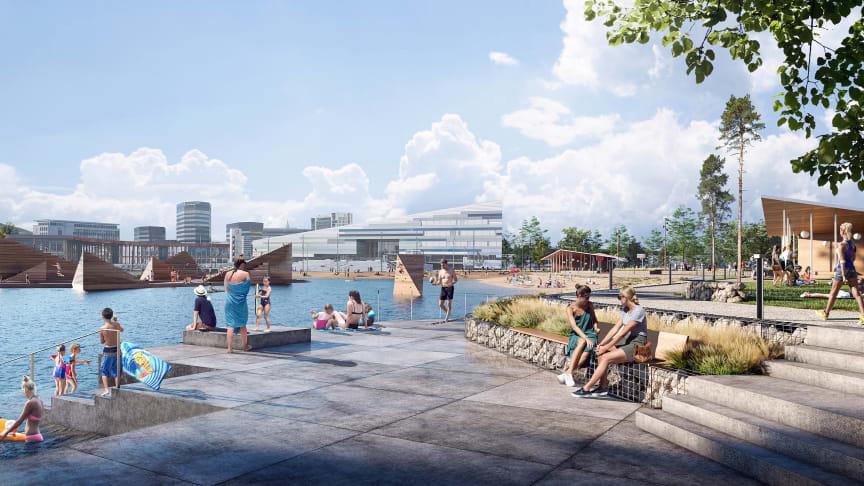 Den nya strandparken och badanläggningen ska bli Bergens nya signum. Bild: Aesthatica Studios