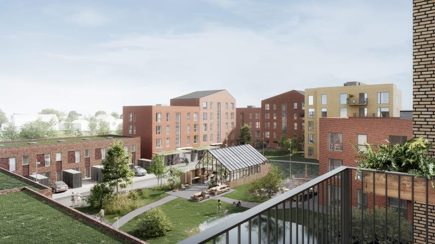 Det grønne gårdrum danner rammen om andelsforeningens fællesskab med legeplads, udekøkken og fælleshus (visualisering: tnt arkitekter/ nor3d)