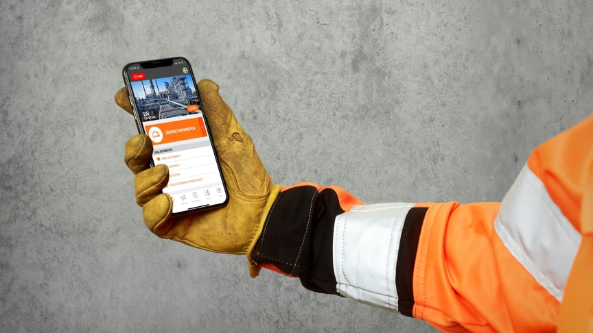 Industriappen SSG On site skapar en säkrare arbetsmiljö på industrianläggningen. Foto: Kristofer Lönnå