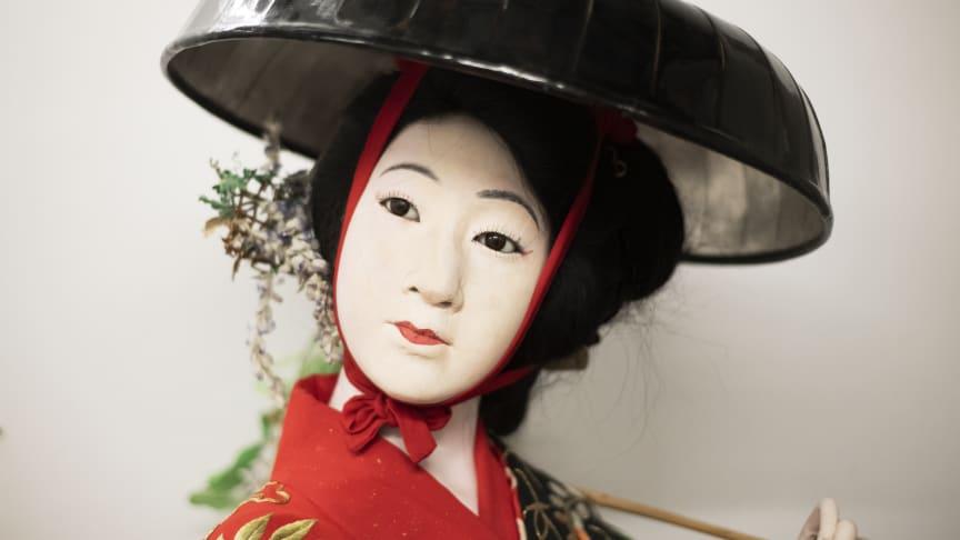 Docka föreställande Fröken Blåregn, ur ett nummer i Kabuki-teater. Inhandlad av Rolf de Maré i Japan 1938. Foto: Linn Cederborg, Dansmuseet