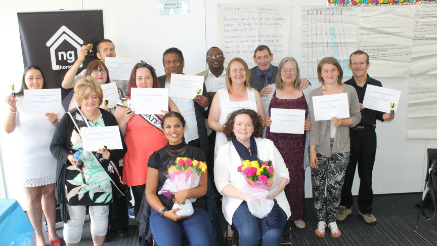 Amreeta Kaur and Colette Lowe from Bridges out of Poverty (seated) with ng homes tenants who completed the first Gettng Ahead programme.
