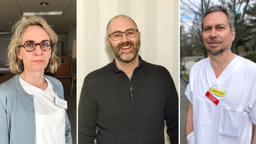 Enhetschef Malin Inghammar, Skånes universitetssjukhus, Fredrik Hellebro, patient, och infektionsläkare Per Åkesson, Skånes universitetssjukhus.