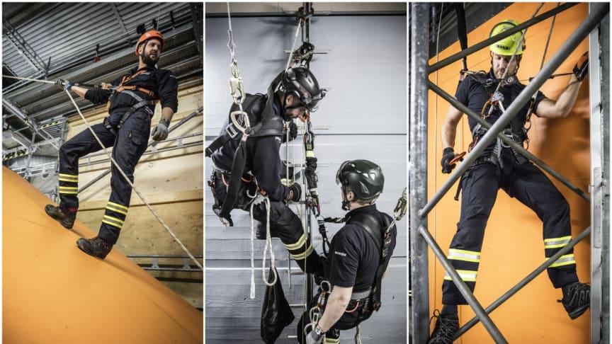 I vår utbildningshall kan du träna på olika situationer där fallskydd är livsviktigt.