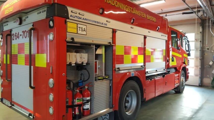 Räddningstjänsten i Båstad  har en AVD-släckare i sin bil på huvudstationen.