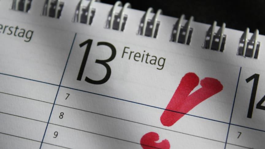Auch wenn der 13. eines Monats auf einen Freitag fällt, besteht in der statistischen Langzeitbetrachtung kein Anlass zur Sorge.