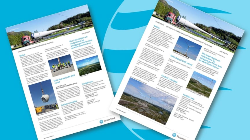 Nyhetsbrev om Kvenndalsfjellet, Harbaksfjellet og Geitfjellet vindparker