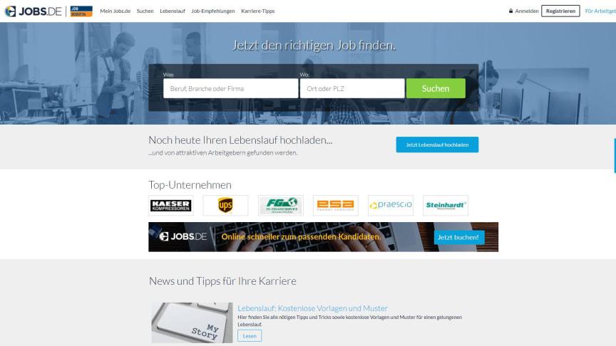 Screenshot der aktuellen Startseite von Jobs.de mit JobScout24 Co-Branding