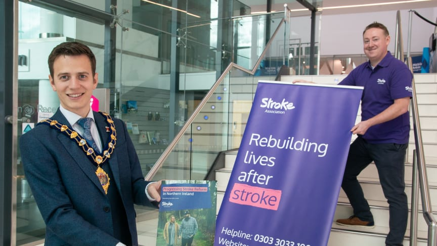 Mayor of Mid and East Antrim, Councillor Peter Johnston, chats with Marc Dyer, Volunteering and Community Manager, Stroke Association