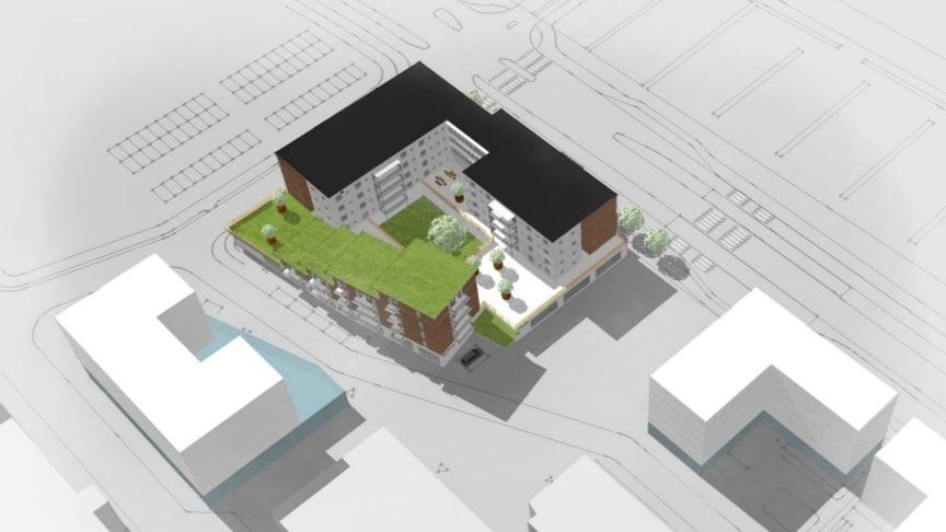 Skissbild/vy från nordväst där man ser hyresrätter i det terrasserade huset och vårdboendet i det L-formade huset. Båda husen vilar på en sockelvåning som planeras inrymma en ny vårdcentral, öppen förskola och BVC/MVC. Bild: Arkitektlaget