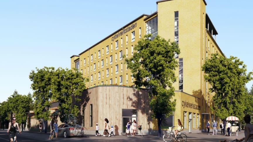 Riksbyggens Brf Cykelverkstaden är ett av det projekt som Riksbyggen visar under Stora visningshelgen. Sammanlagt planerar Riksbyggen för totalt cirka 800 nya bostäder i Täby Park i flera etapper.