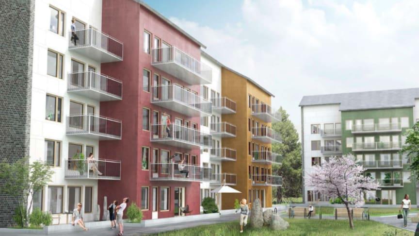 Bilden är en idéskiss om hur byggnationen i Bagarmossen kan komma att se ut.