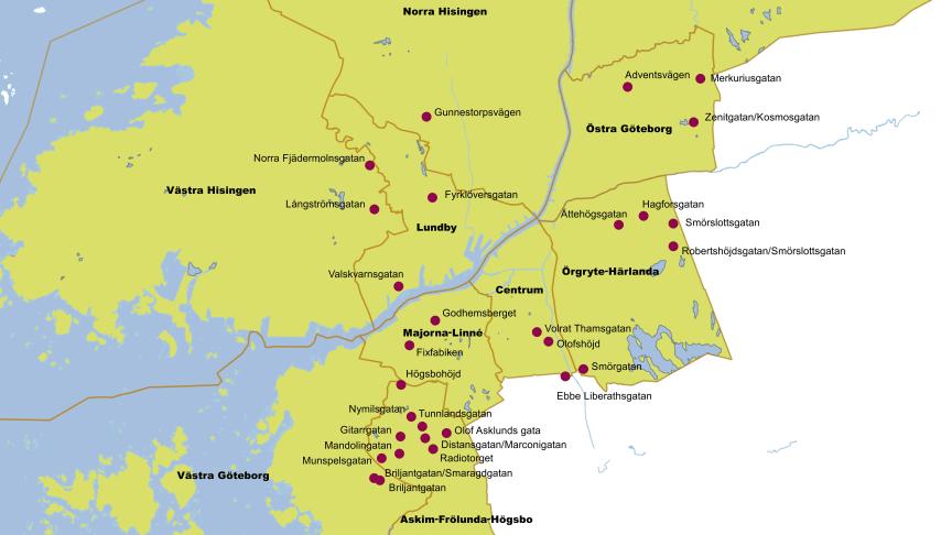 Karta över bostadssatsningarna inom BoStad2021, 7 000 extra bostäder klara till år 2021.