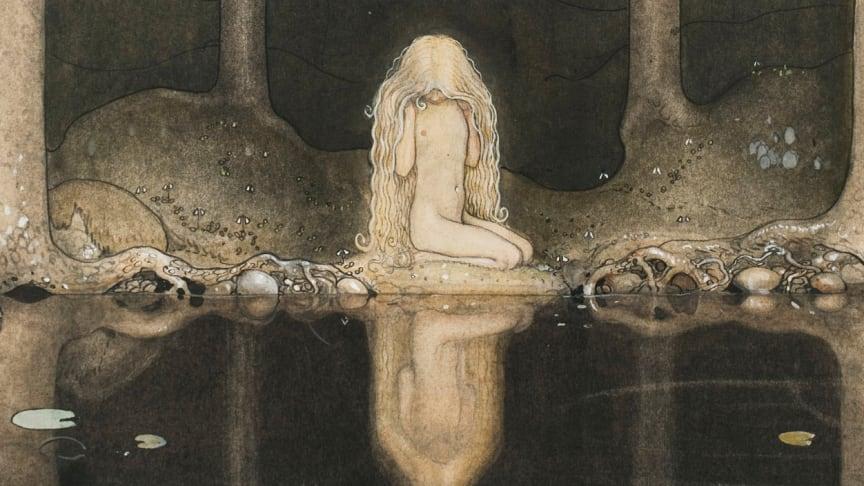 """""""Ännu sitter Tuvstarr kvar och ser ner i vattnet"""" i akvarell från 1913 målad av John Bauer"""